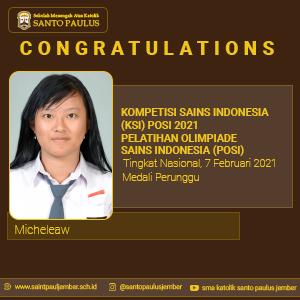 Medali Perunggu Kompetisi Sains Indonesia (KSI) POSI 2021