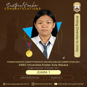 As The First Winner In Poematography Competition Duta Wacana English Competition 2021