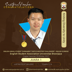"""Juara 1 English Annual  Student Tournament """"Earth's Mightiest Challengers"""" - English Olympiad"""